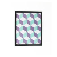 Retro Wall Hanging Purple Blue White Framed 3D Cube Pattern