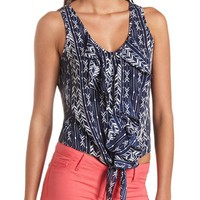 TIE-FRONT RUFFLE BUTTON-UP TANK TOP