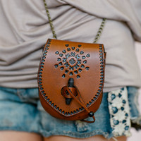 Bohemian Leather Cross Body, Toggle Tote Bag, Hand Stamped Purse, Sol Child Leather Hand Bag in Brown (B1112BRN)