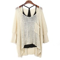 Loose Bat Sleeve Hollow Out Sweater