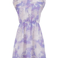 High-low watercolor print dress