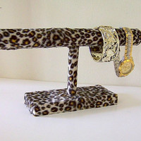 Watch Holder Bracelet Organizer with Cheetah Print Fur