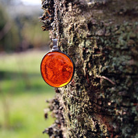Round transparent red orange clear glass nugget beadwork statement pendant necklace