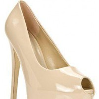 PEEP TOE FAUX PATENT LEATHER PLATFORM HEELS