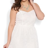 Plus Size Tribal Crochet A Line Dress with Spaghetti Straps