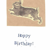 Funny Vintage Natural History Animal Rabbit Birthday Card - Hoppy Birthday