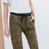 PRINTED VELOUR TROUSERS
