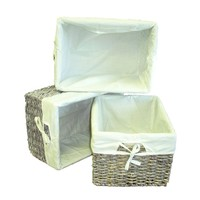 Woven Maize Rectangular Storage Baskets with Liners (Set of 3)