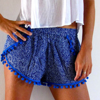 Pom Pom Shorts - Cobalt Blue & White Mini Leaf Print with Cobalt Blue Pom Pom Trim - lightweight chiffon