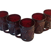 French Ruby Glass Mugs S/5