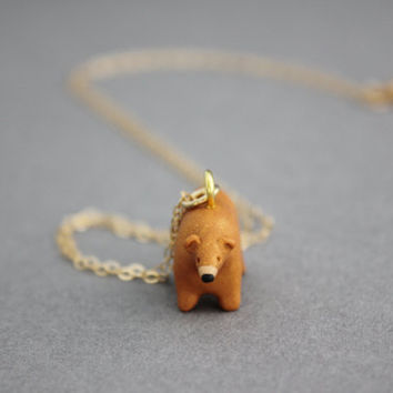 gold bear necklace polymer clay bear gold filled chain necklace bear pendant
