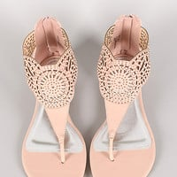 Bamboo Lottie-87 Cut Out Rhinestone Thong Flat Sandal