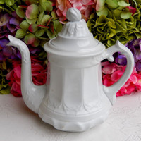 Beautiful Antique T&R Boote White Ironstone Coffee Pot ~ 1858