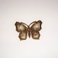 Vintage Butterfly Brooch Gold Brass Pin Engraved Costume Jewelry