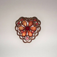 Vintage Red Rhinestone Heart Brooch Crystal Flower Gold Scroll Pin Costume Jewelry