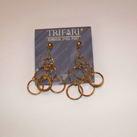 Vintage Gold Trifari Earrings Dangle Circle Costume Jewelry