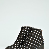 Laurie Polka Dot Print Lace Up Boots
