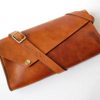 NEW Handstitched Cognac Leather Shoulder Bag No by OrigamiLeather