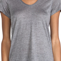 Vince Scoop Neck Tee in Dark Heather Grey