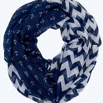 Chevron Anchor Infinity Scarf