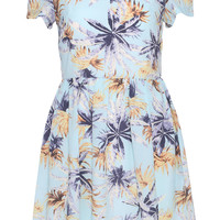 ROMWE Floral Print Short-sleeved Blue Dress