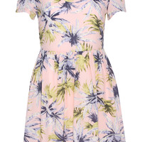 ROMWE Floral Print Short-sleeved Pink Dress