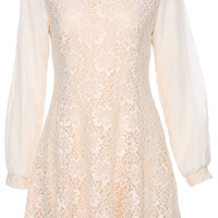 ROMWE Lace Embellished Long-sleeved Apricot Dress