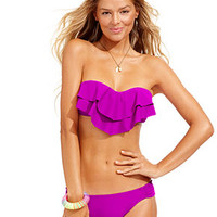 Hula Honey Molded Ruffled Bandeau Top & Hipster Bikini Bottoms