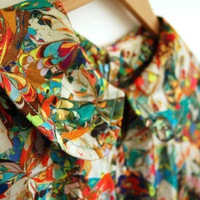 colorful psychedelic tunic - 70s vintage peter pan collar blouse - trippy rainbow fractal print - one size