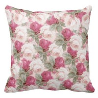 Vintage roses decorative throw pillow