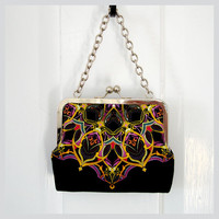 Kisslock Frame Tote Clutch Silk Lined Bright by FoxburyAndCo