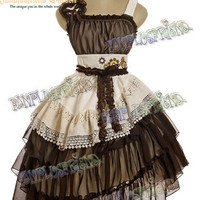 Steampunk Asymmetrical Tiered Frills Gear Wheel JSK Dress&Headdress*Instant Shipping