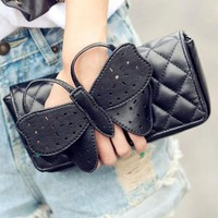 ZPS Fashion New Beauty Bow-Knot Clutch Purse Ladies Evening Bags Black