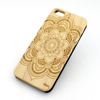 GENUINE WOOD Organic Snap On Case Cover for APPLE IPHONE 5 / 5S - FULL MANDALA pattern ethnic hipster mayan teal dream catcher