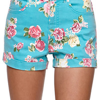 Bullhead Denim Co Bright Blue Floral Mom Shorts at PacSun.com