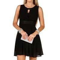 Black Pleated Faux Leather Skater Dress
