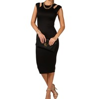 Black Scuba Tank Midi Cocktail Dress