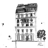 Watercolor Travel Illustration - Xoxo Paris Black and White Edition print