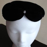 Vintage Hat  black velvet with rhinestone by purrfectstitchers