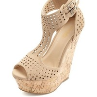 LASER CUT-OUT T-STRAP PLATFORM WEDGE SANDALS