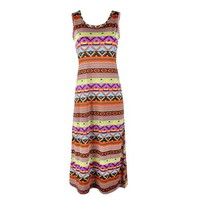 Zlyc Bohemian Women's Tribal Aztec Print Summer Vacation Swing Shift Dress