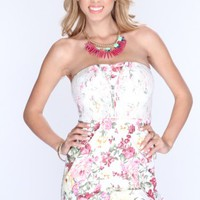 White Floral Print Tulip Sexy Party Dress
