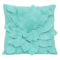 Wake Up Frankie - How I Felt Flower Dec Pillow (Square) - Mint Blue : Teen Bedding, Pink Bedding, Dorm Bedding, Teen Comforters
