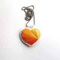 Mother's Day necklace geometric heart handmade embroidered in oranges and yellows on silver ball chain