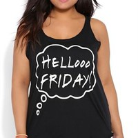 Plus Size Racerback Tank Top with Hello Friday Screen