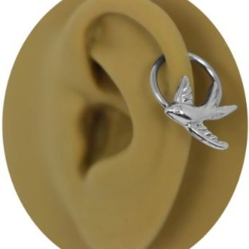 Soaring Sparrow Captive Ring Cartilage Earring-Stainless Steel Captive Ring-Swallow Nipple Ring Earring-20g-18g-16g-14g-Valentines Day Gift For Her-Available in Various Sizes for Custom Fit