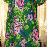 VinTage 60s 70s House Dress Womens Cotton by SapphireReborn