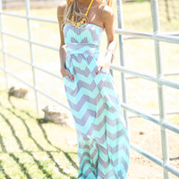 Salt Water Chevron Dress Mint/Gray