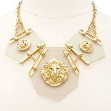 CLEAR PANEL LION HEAD NECKLACE