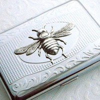 Silver Bee Cigarette Case / Bee Business Card Holder / Credit Card Holder Metal Wallet Steampunk Case Vintage Inspired Small Cigarette Case